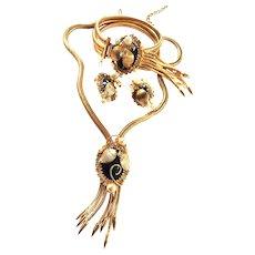 Fabulous HObe  Parure Necklace Bracelet Earrings Faux Pearl