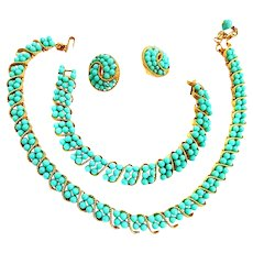 Trifari 1960 Samara Parure Turquoise Bead Necklace Bracelet Earrings