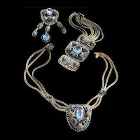 Early 1900s Jaw Dropping Sapphire Blue Necklace Bracelet Earrings