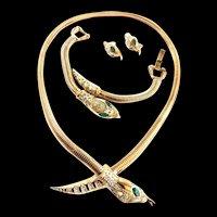 Coro Francois Vintage Coiled Snake/Serpent Slide Necklace and earrings Bracelet