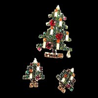 Vintage Weiss Hard to Find 6 Candle Xmas Tree and Earrings