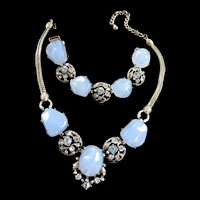 Baby Blue Selro Vintage Necklace and Bracelet