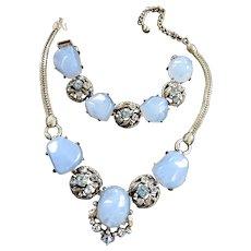 Baby Blue Selro Vintage Necklace and Bracelet
