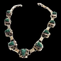 Vintage Mexican Carved Face Malachite Necklace