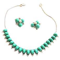Vintage Reja  Turquoise Matrix Necklace and Earrings