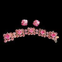 Designer Fabulous Fuchsia Rhinestone Bracelet and Earrings 50s