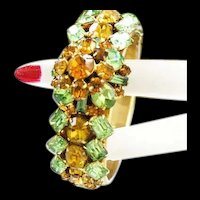 Spectacular Topaz Peridot Encrusted Designer Clamper Bracelet 50s