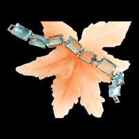 Fabulous Aqua Marine Judy Lee Beacelet and Earrings 1950s
