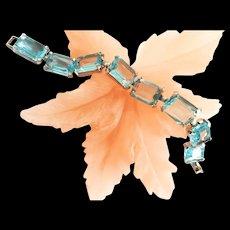 Fabulous Aqua Marine Judy Lee Bracelet and Earrings 1950s