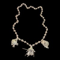 Exquisite Asian Vintage Lantern Hanging Charm Necklace Sterling