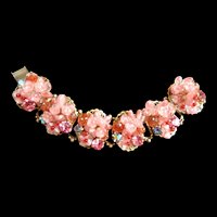 Pretty in Pink Vintage 40s to Early 50s Art Glass Bracelet