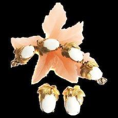 Fabulous 1940s Schiaparelli Winter White Cabochon Bracelet and Earrings
