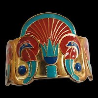 Vintage Egyptian Revival Cuff Bracelet Gorgeous Enameling