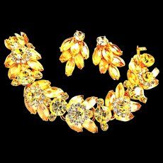 Exquisite Jonquil Juliana Tiered Rhinestone Bracelet and Earrings