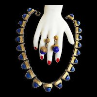 lateLate 1800s lapisEgyptian RevivalNecklace and Earrings ust c