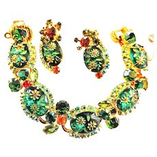 Hard to Find Juliana Etched Parure Necklace Bracelet Earrings Brooch