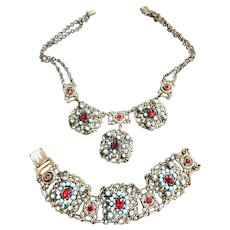 Faux turquoise 3 panel necklace and bracelet set 50s