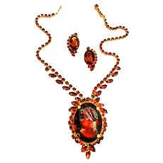 Vintage Juliana Cameo Necklace and Earrings