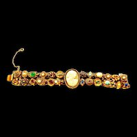Goldette Slide Bracelet with Large Cameo In Center