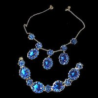 Victorian  Sapphire Blue Czech Necklace and Bracelet Must C