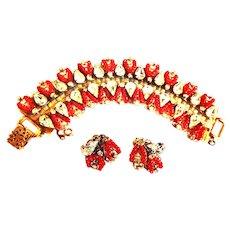 Original by Robert Red Bracelet and Earrings Must See