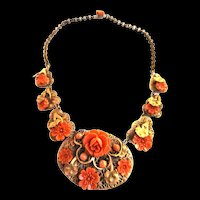 Exquisite Early 1900s Czech Carved Faux Coral Celluloid Majestic Necklace Must C