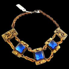 Spectacular Early 1900s Sapphire Blue Glass Big Chunky Griffin Dragon Necklace