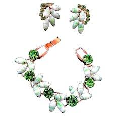 Juliana Mnt Colored Art Glass Bracelet an Earrings