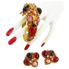 Designer Dragon Breath Cabochon Bracelet and Earrings 50s