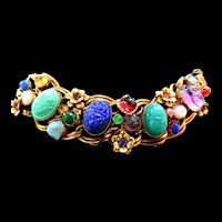 Mystical and Magical Chunky Scarab Egyptian Revival Vintage Bracelet