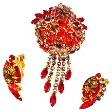 Juliana D&E Etched Drippy Red Brooch and Earrings