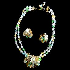 DeMario Vintage Glass Bead Necklace and Earrings