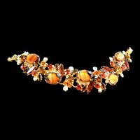 Juliana Vintage Amber Givre Art Glass Stones Bracelet