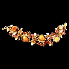 Juliana Vintage Amber Givre Art Glass Stones Bracelet