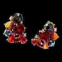 Chunky Schiaparelli Rhinestone earrings