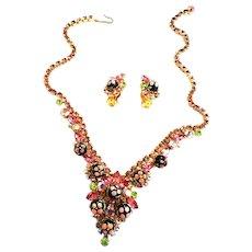 Juliana Sugar Bead Rhinestone Vintage Bracelet Necklace Earrings