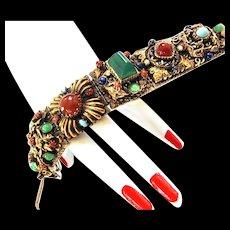 Magical Scarab, Gargoyle, Griffin Mystical Massive Vintage Bracelet Must C