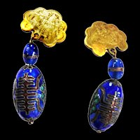 Exquisite cloisonne Asian Motif, Clip Vintage Earrings
