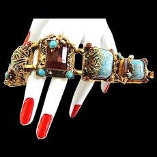 Exquisite 1940s Bracelet Carnelian Faux Sugar Loaf Turquoise  Must C