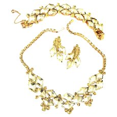 Return to Elegance Juliana Jonquil Art Glass Necklace Bracelet Earrings