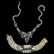 Weiss Stunning Drippy Sapphire BLue 1940s Necklace and Bracelet