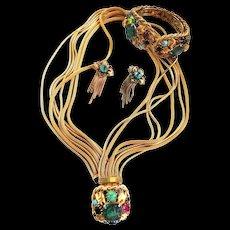 Fabulous Cabochon Parure Clamper Bracelet Earrings Necklace