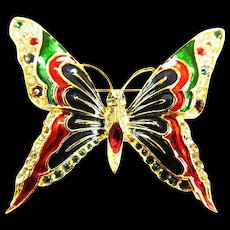 Spinx Vintage Enamel and Rhinestone Butterfly Brooch