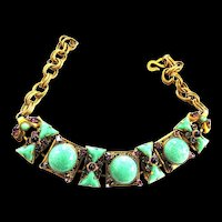 1950S  Faux Turquoise Bullet and Amethyst rhinestone Spectacular Necklace