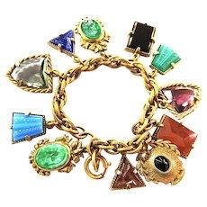 Vintage Early 1900s Intaglio Real Stones Charm Bracelet