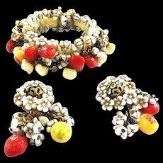 50s Hobe Fruit Salad Bracelet and Earrings Must C