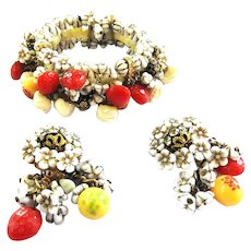 50s Hobe Fruit Salad Bracelet and Earrings Must C