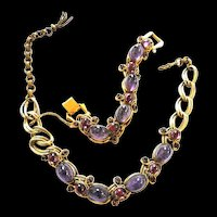 Exquisite Amethyst Designer Necklace and Bracelet 40s