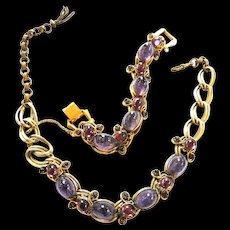 Exquisite Amethyst Designer Necklace and Bracelet 40s
