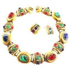 Humungous Mogul Cabochon Vintage Necklace